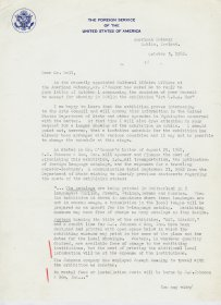 Letter from John A. McKinney, American Embassy to Mervyn Wall, Secretary of the Arts Council. (Page 1 of 2)